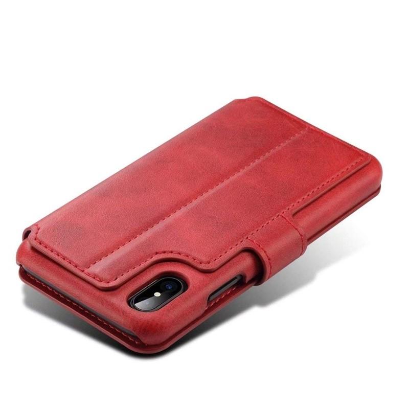 Mobiq Premium Lederen iPhone X/Xs Wallet hoes Rood 05