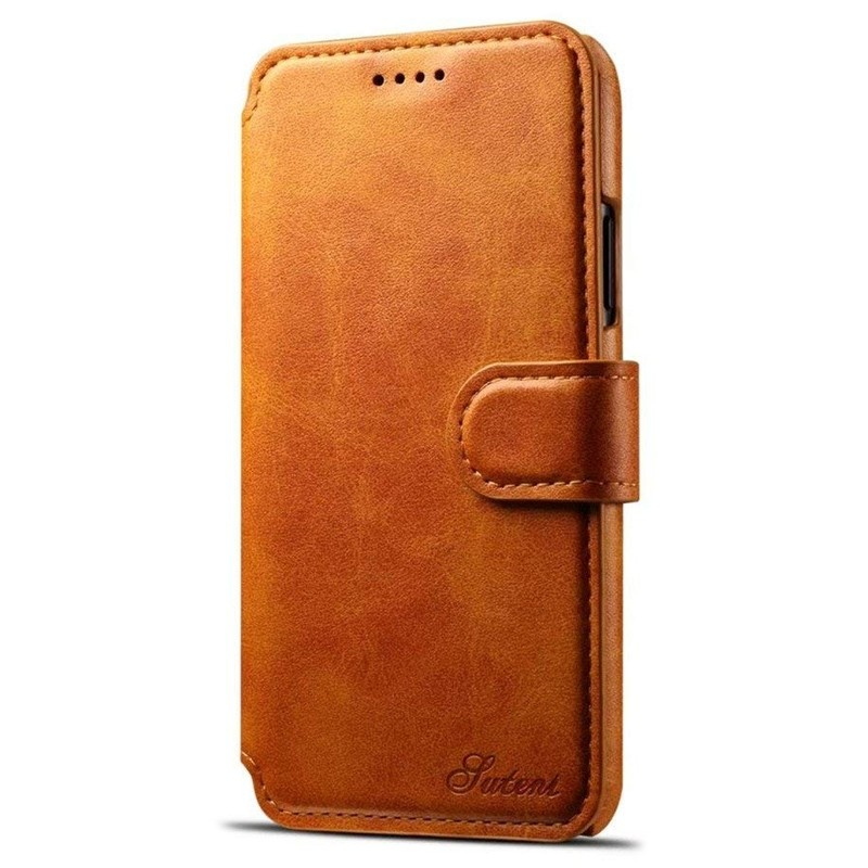 Mobiq Premium Lederen iPhone X/Xs Wallet hoes Tan bruin 01