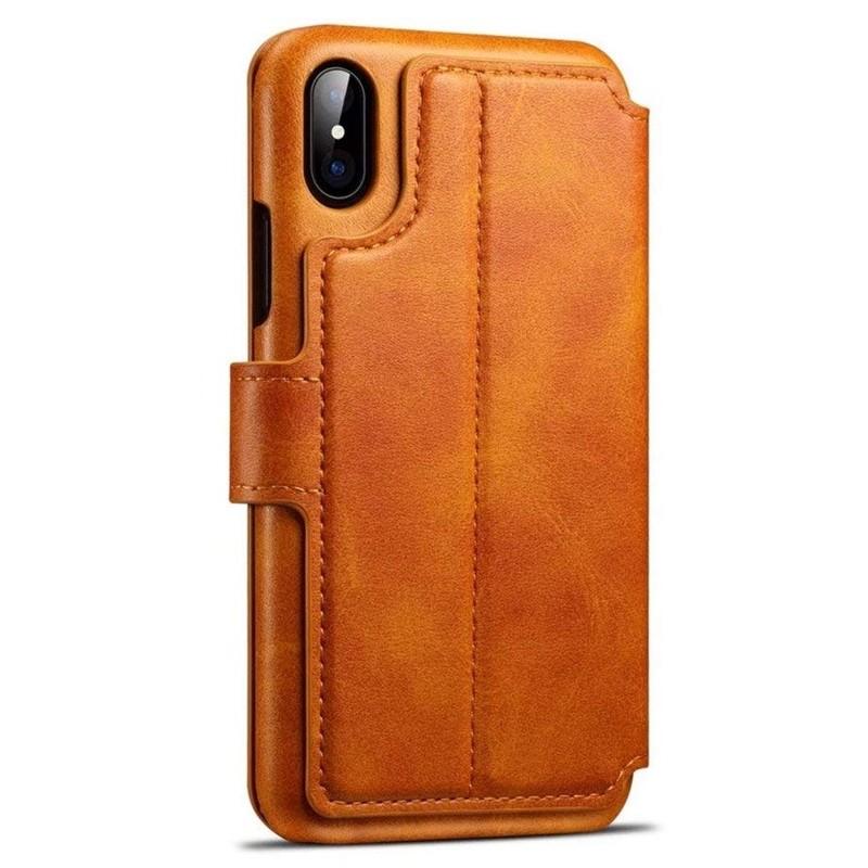 Mobiq Premium Lederen iPhone X/Xs Wallet hoes Tan bruin 02