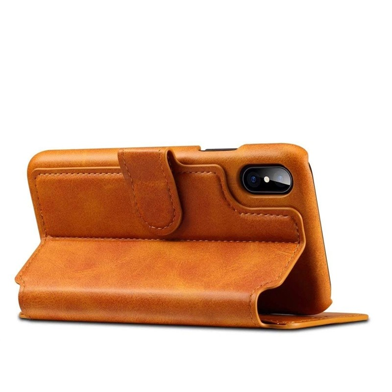Mobiq Premium Lederen iPhone X/Xs Wallet hoes Tan bruin 04