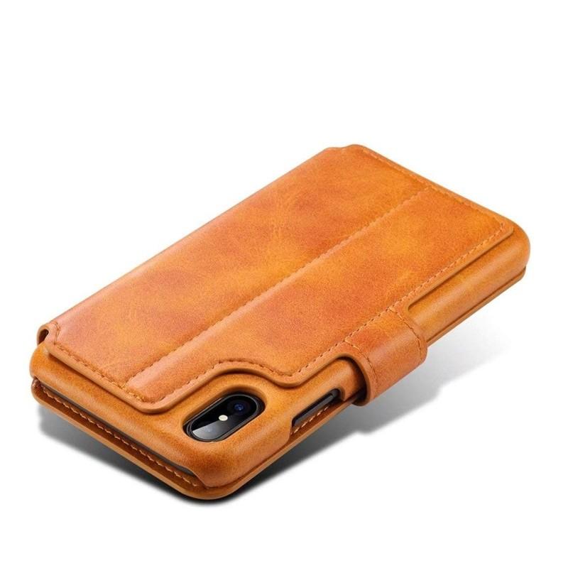 Mobiq Premium Lederen iPhone X/Xs Wallet hoes Tan bruin 05