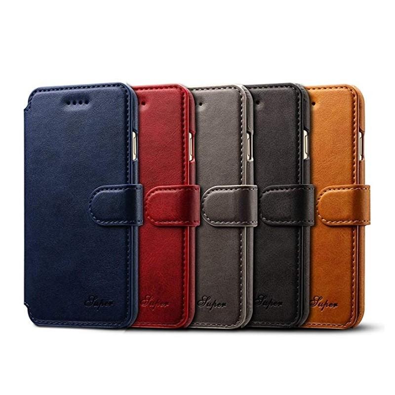 Mobiq Premium Lederen iPhone X/Xs Wallet hoes Tan bruin 06