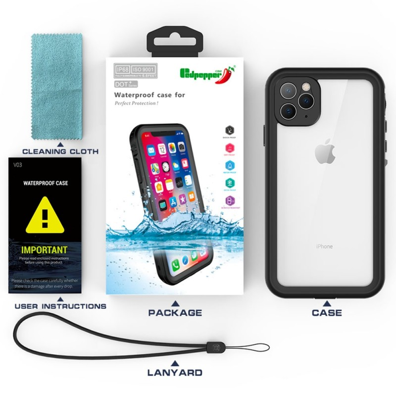 Mobiq - Waterdicht iPhone 11 Hoesje Zwart - 7