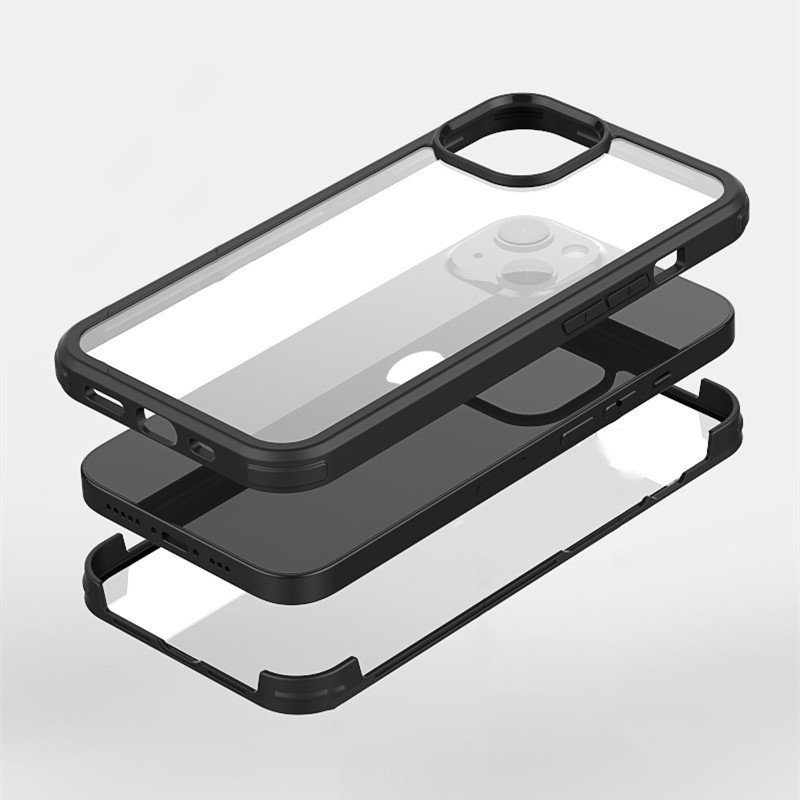 Mobiq Rugged 360 Graden Full Body Hoesje iPhone 13 Pro Max Zwart - 6