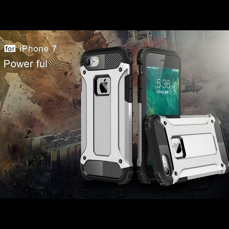 Mobiq - Rugged Armor Phone 8/7 Hoesje Zilver - 2