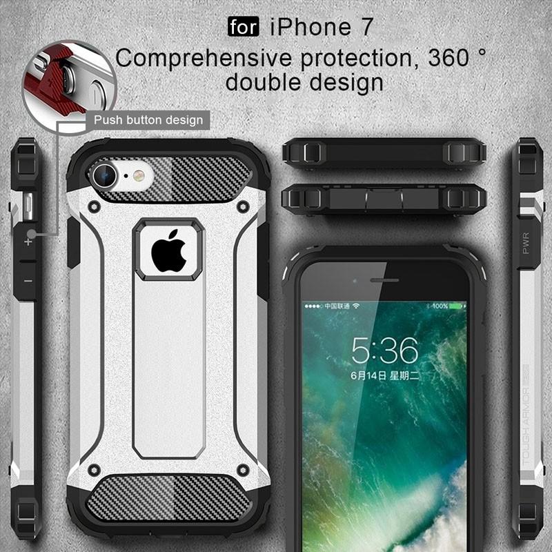 Mobiq - Rugged Armor Phone 8/7 Hoesje Zilver - 4