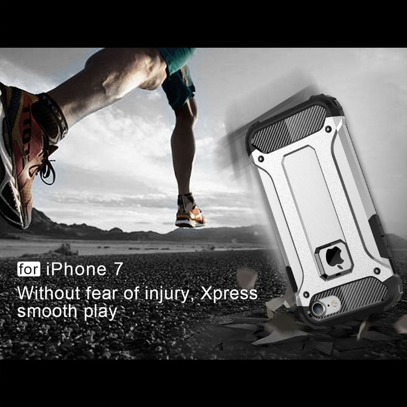Mobiq - Rugged Armor Phone 8/7 Hoesje Zilver - 5