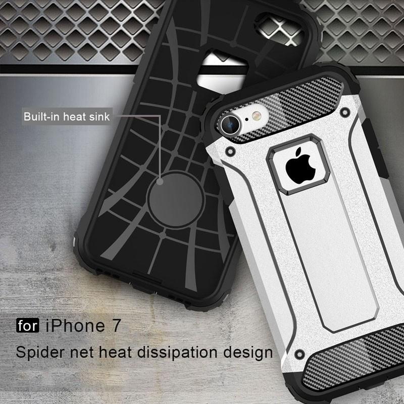 Mobiq - Rugged Armor Phone 8/7 Hoesje Zilver - 6