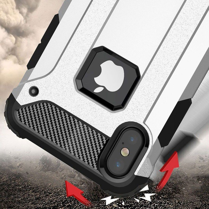 Mobiq Rugged Armor Case iPhone XR Silver 03