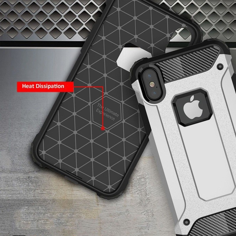 Mobiq Rugged Armor Case iPhone XR Silver 05