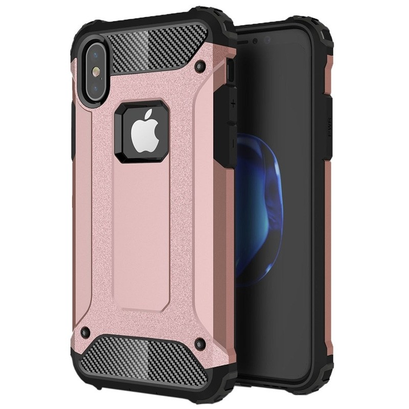 Mobiq Rugegd Armor Case iPhone X/Xs Rose - 1
