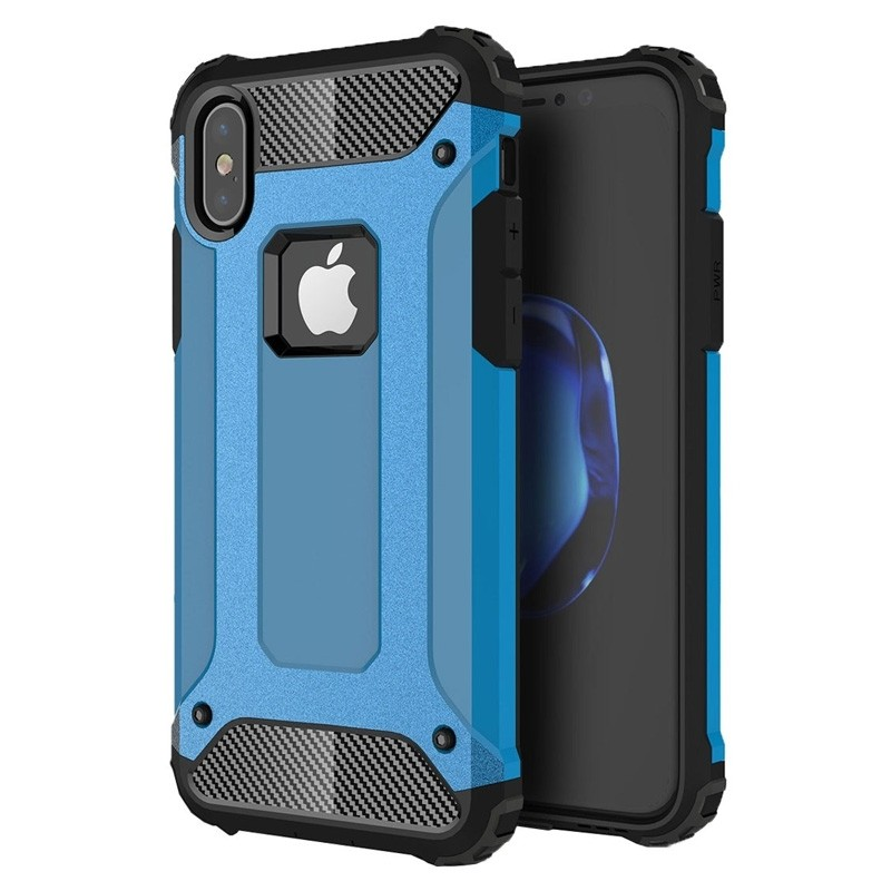 Mobiq - Rugged Armor Case iPhone XS Max Hoesje Blauw 01