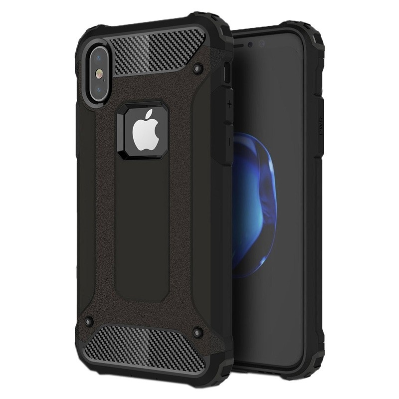 Mobiq - Rugged Armor Case iPhone XS Max Hoesje Zwart 01