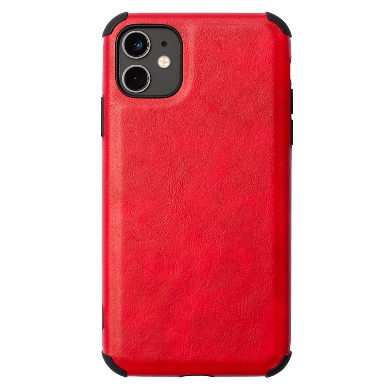 Mobiq Rugged PU Leather Case iPhone 12 / 12 Pro Rood - 1