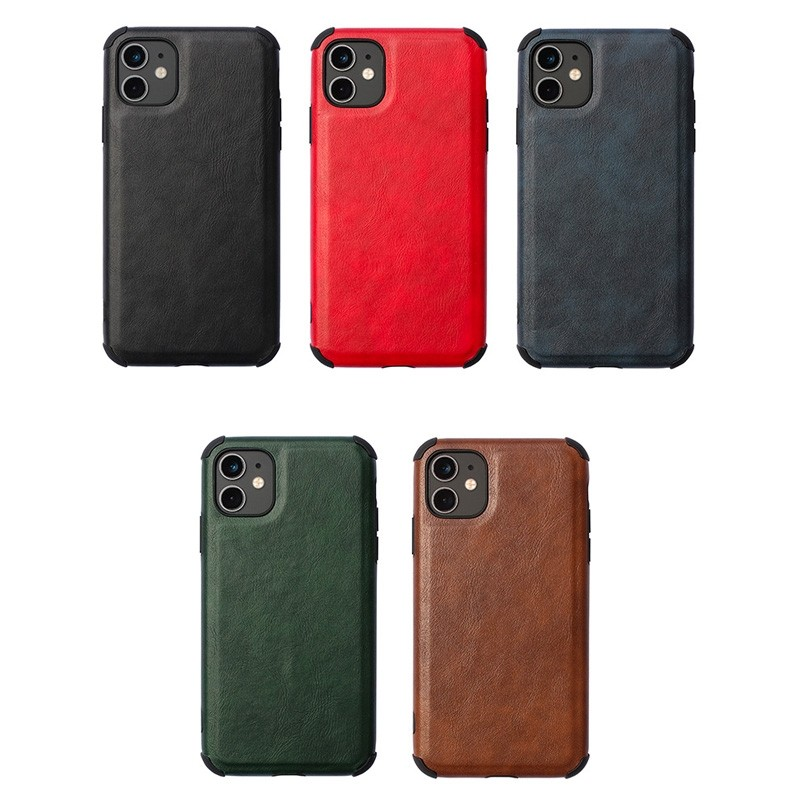 Mobiq Rugged PU Leather Hoese iPhone 12 / 12 Pro Zwart - 4