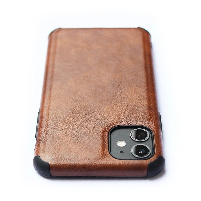 Mobiq Rugged PU Leather Case iPhone 12 / 12 Pro Bruin - 3