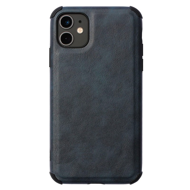 Mobiq Rugged PU Leather Hoese iPhone 12 Mini Bllauw - 1
