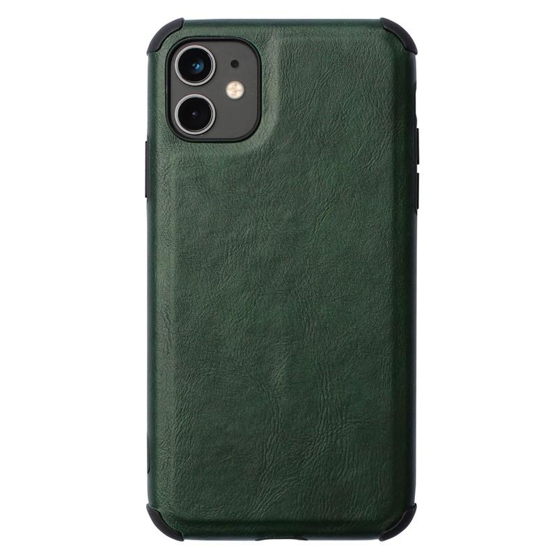 Mobiq Rugged PU Leather Hoese iPhone 12 Mini Groen - 1