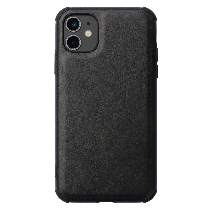 Mobiq Rugged PU Leather Hoese iPhone 12 Mini Zwart - 1