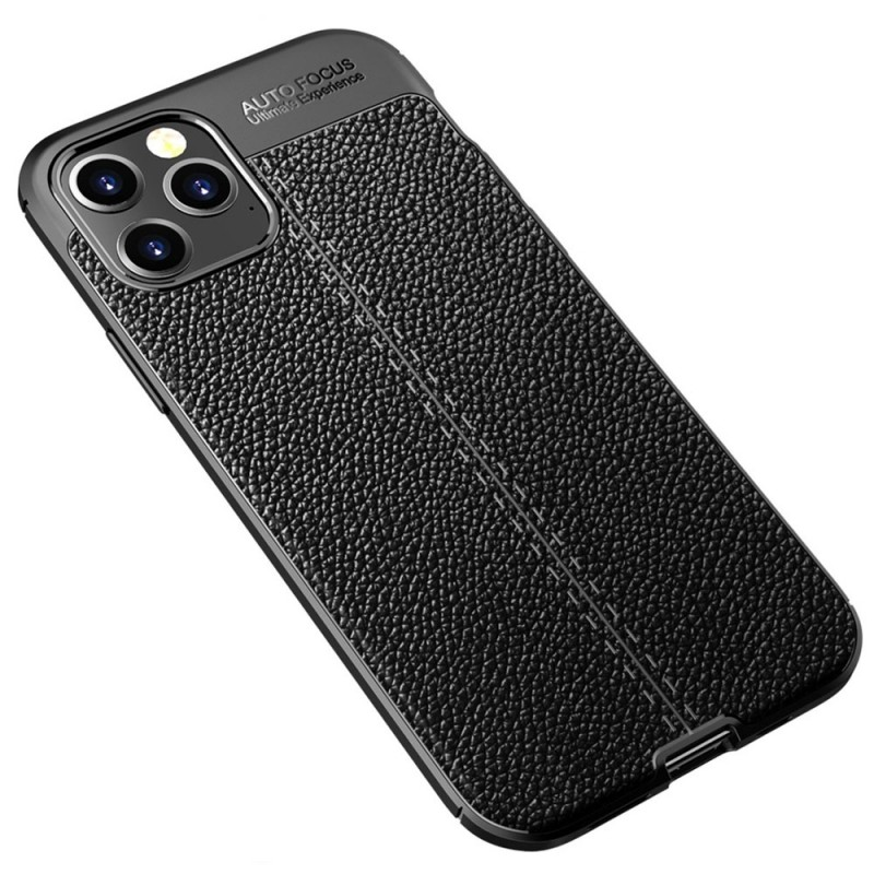 Mobiq Leather Look TPU Hoesje iPhone 12 6.1 Zwart - 2