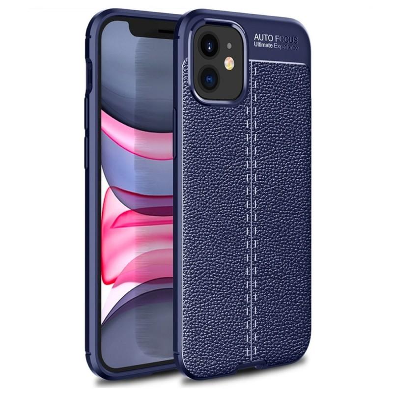 Mobiq Leather Look TPU Hoesje iPhone 12 Mini Blauw - 1