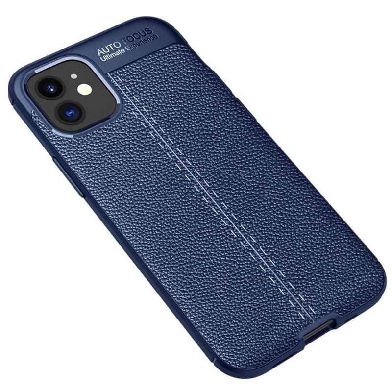Mobiq Leather Look TPU Hoesje iPhone 12 Mini Blauw - 2