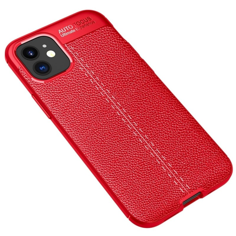 Mobiq Leather Look TPU Hoesje iPhone 12 Mini Rood - 2