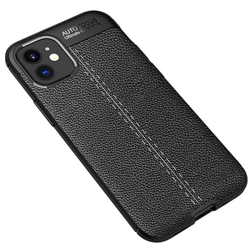 Mobiq Leather Look TPU Hoesje iPhone 12 Mini Zwart - 2