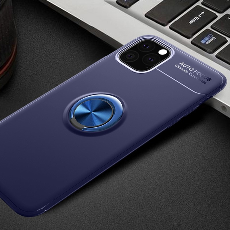 Mobiq TPU Ring Hoesje iPhone 11 Blauw - 2
