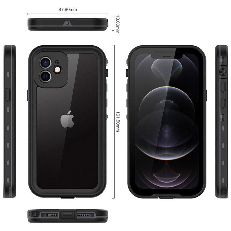 Mobiq Waterdicht iPhone 12 Mini Hoesje Zwart - 2