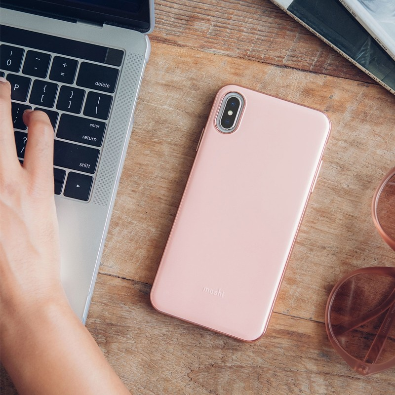 Moshi iGlaze iPhone XS Max Hoesje Taupe Pink 05