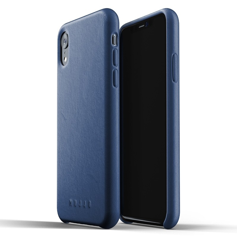 Mujjo Full Leather iPhone XR Case Blauw 01