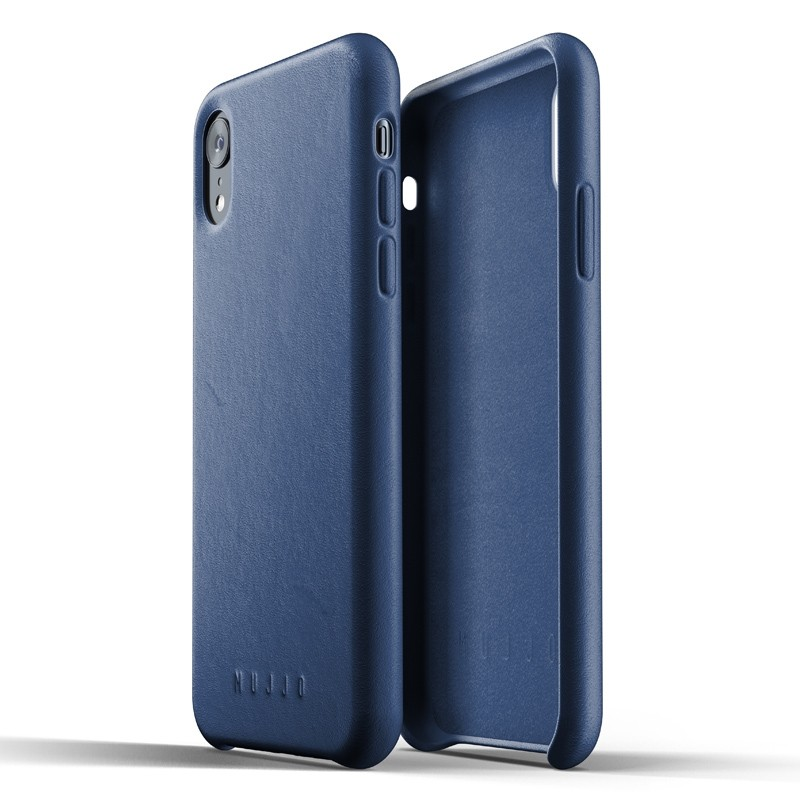 Mujjo Full Leather iPhone XR Case Blauw 06