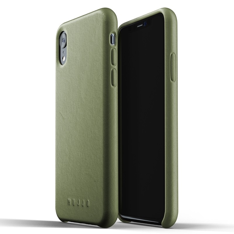 Mujjo Full Leather iPhone XR Case Olive 01