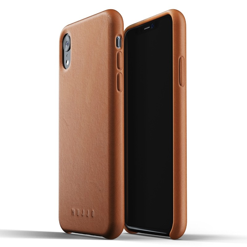 Mujjo Full Leather iPhone XR Case Tan Bruin 01