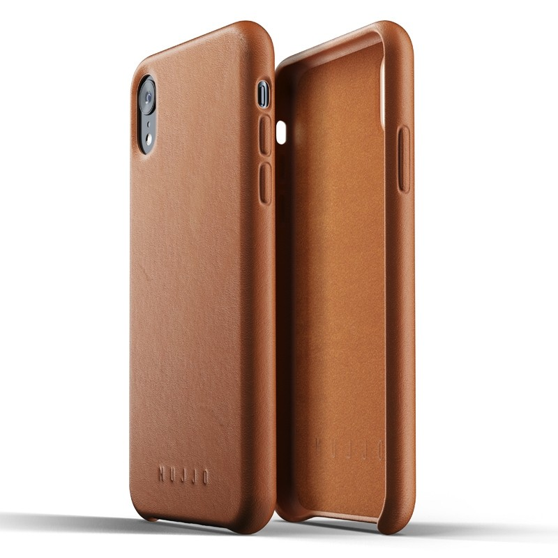Mujjo Full Leather iPhone XR Case Tan Bruin 05