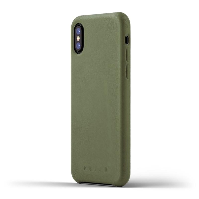 Mujjo - Full Leather Case iPhone X/Xs Green 01