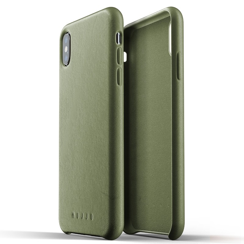 Mujjo Full Leather Case iPhone XS Max olijfgroen 04
