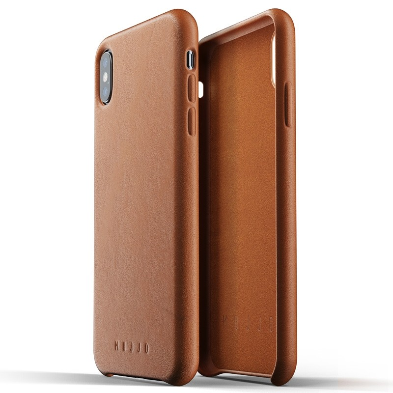 Mujjo Full Leather Case iPhone XS Max tan bruin 04