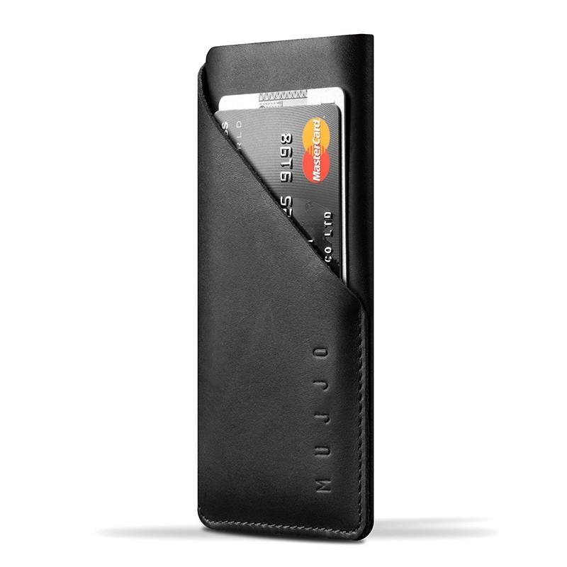 Mujjo - Leather wallet Sleeve iPhone X/Xs Black 01