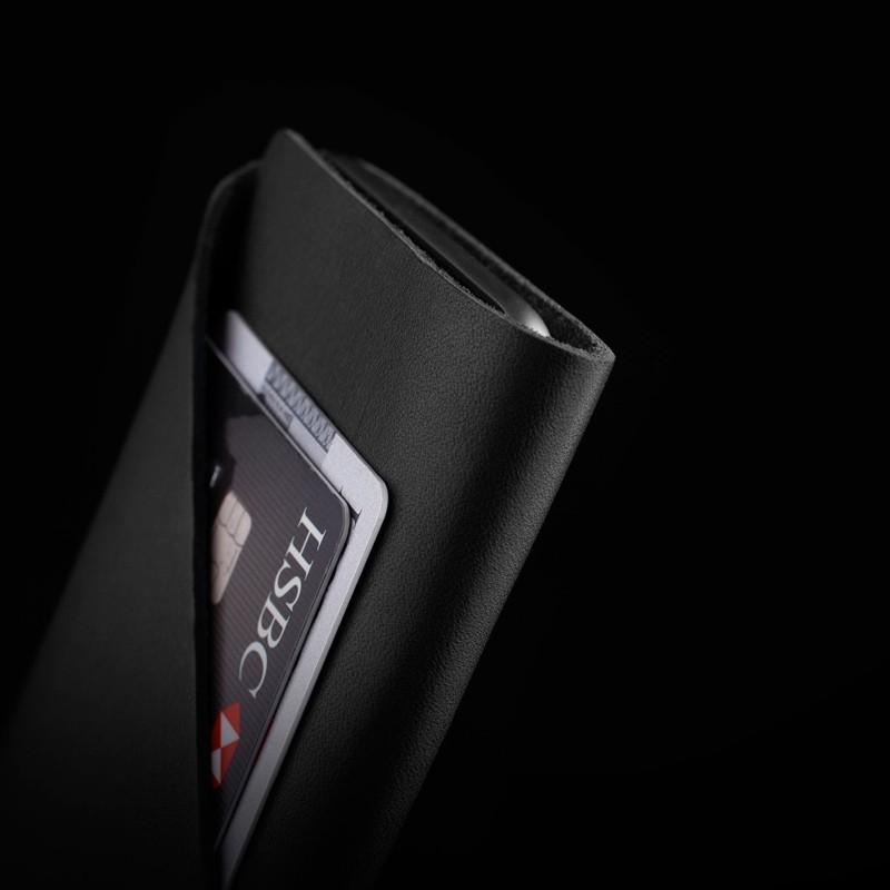 Mujjo - Leather wallet Sleeve iPhone X/Xs Black 02