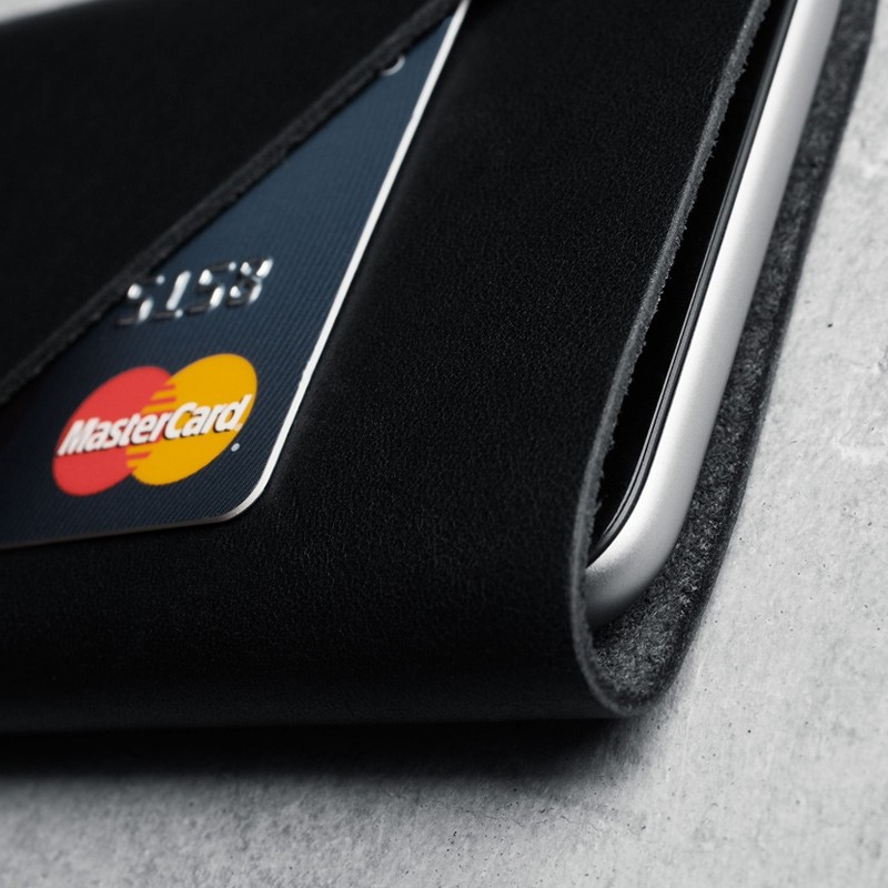 Mujjo - Leather wallet Sleeve iPhone X/Xs Black 04