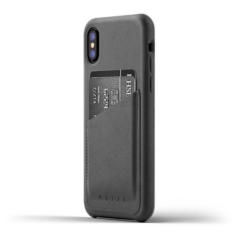 Mujjo - Full Leather Wallet Case iPhone X/Xs Gray 01