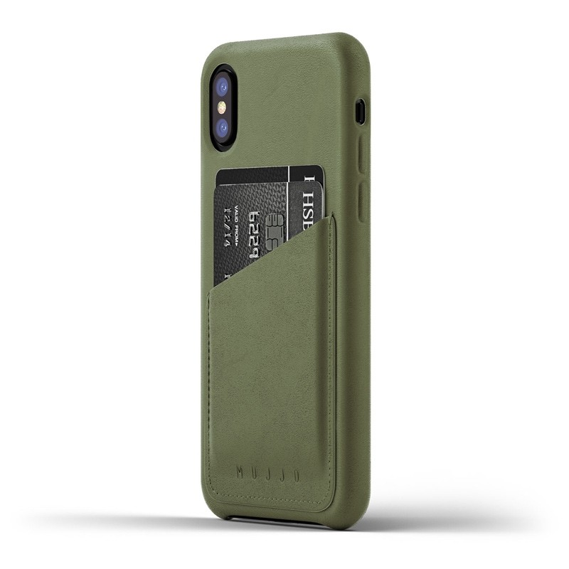 Mujjo - Full Leather Wallet Case iPhone X/Xs Green 01