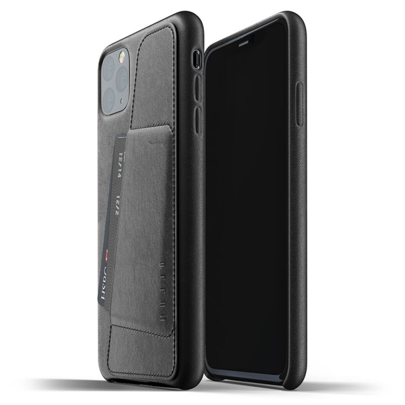 Mujjo Full Leather Wallet iPhone 11 Pro Max zwart - 1