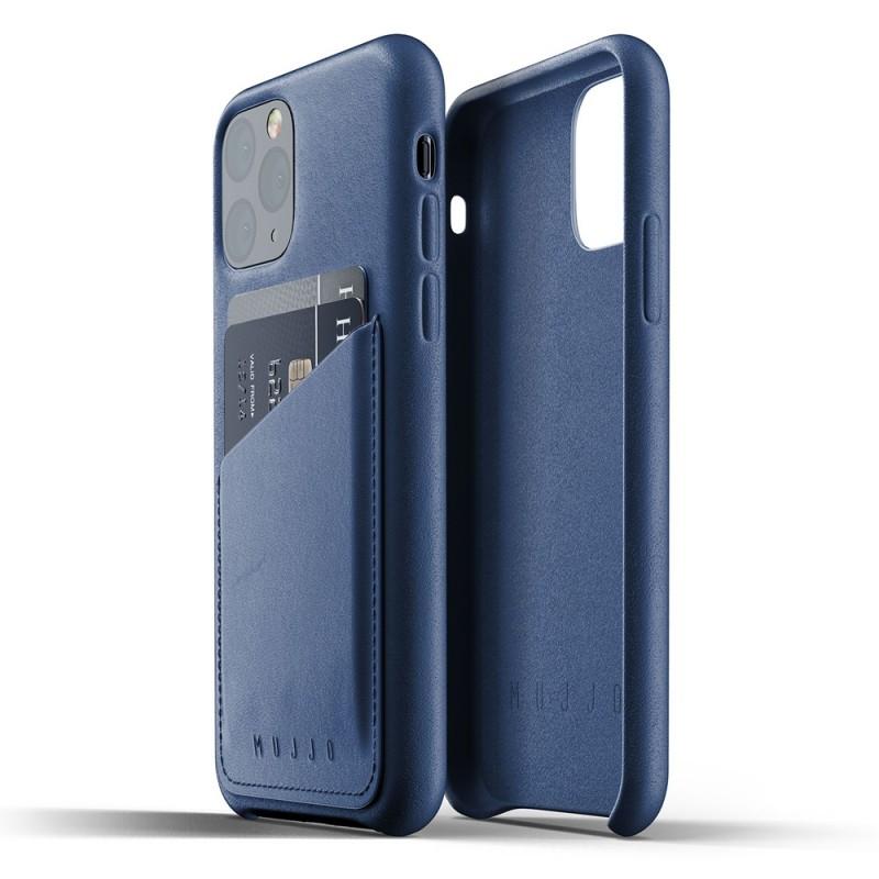 Mujjo Full Leather Wallet iPhone 11 Pro monaco blue - 2
