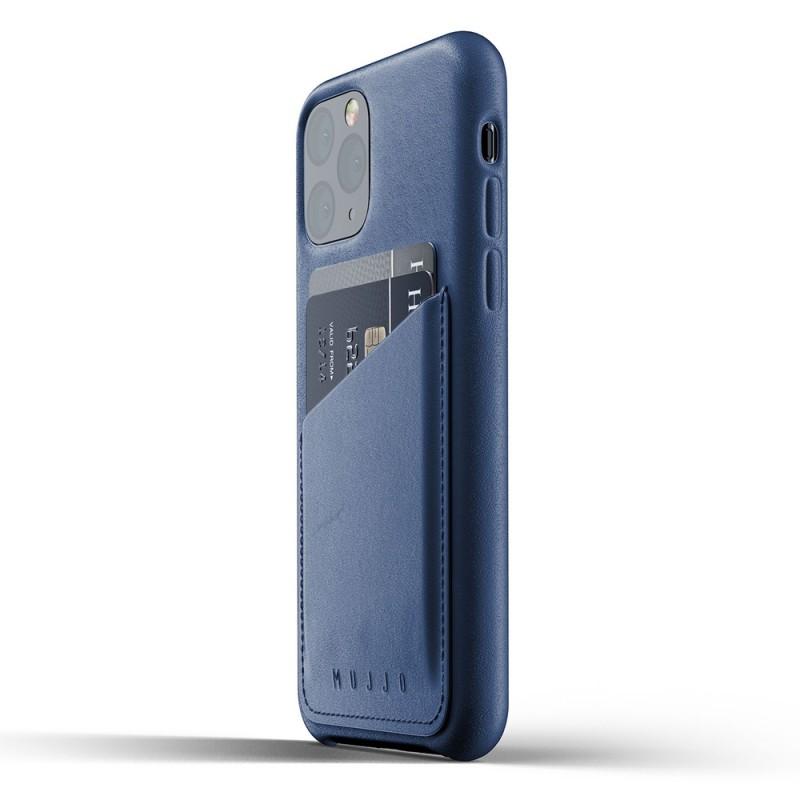 Mujjo Full Leather Wallet iPhone 11 Pro monaco blue - 3