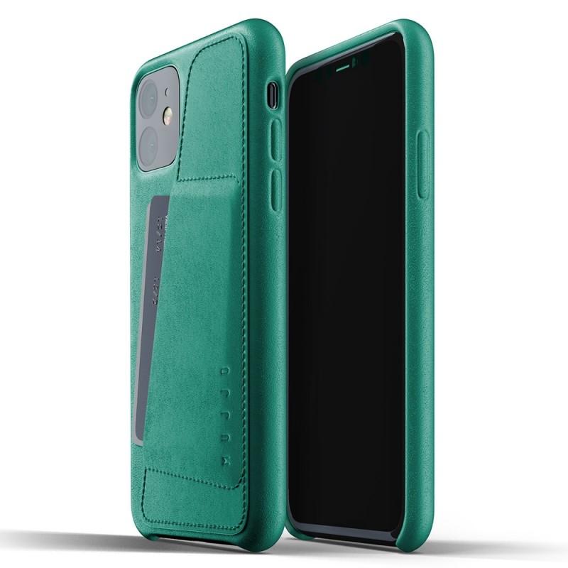 Mujjo Full Leather Wallet iPhone 11 alpine green - 1