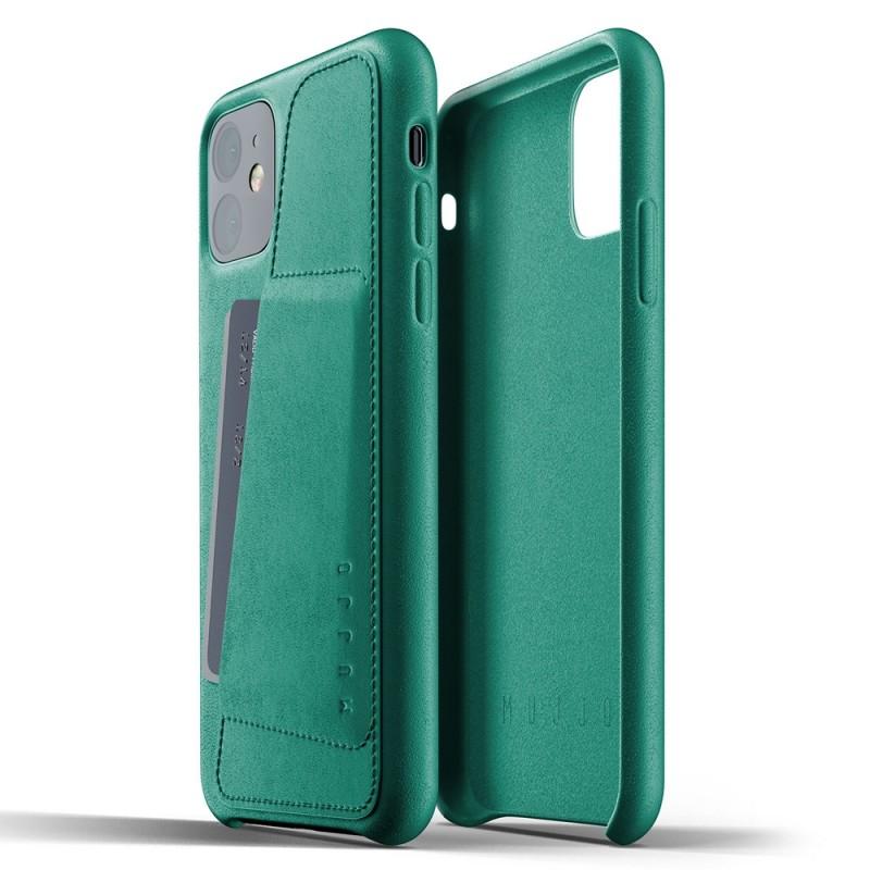 Mujjo Full Leather Wallet iPhone 11 alpine green - 2