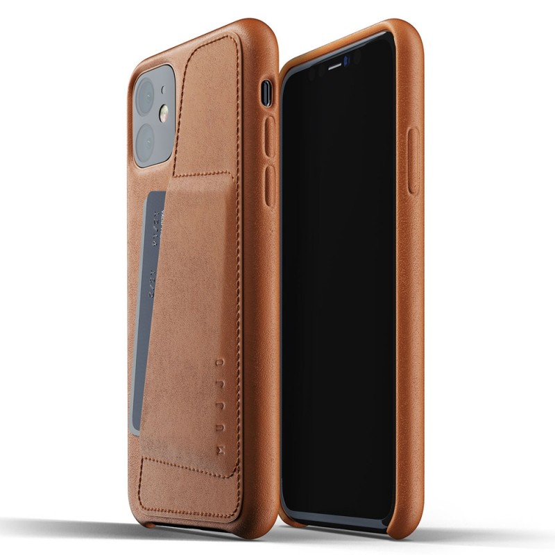 Mujjo Full Leather Wallet iPhone 11 bruin - 1